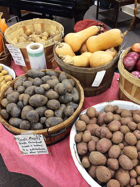potatoes, onion, and squash