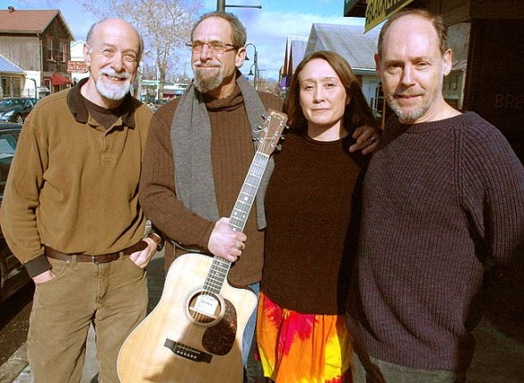 Charlie Peters, left, started a Songwriter's Concert Series for local musicians to share their original work. Performing at 7 p.m. on Saturday, Feb. 7, at the Yellow Springs Arts Council Community Gallery are local songwriters Scott Lindberg, second from left, accompanied by Amy Blue, and Mitch Coleman, right. (Photo by Megan Bachman)