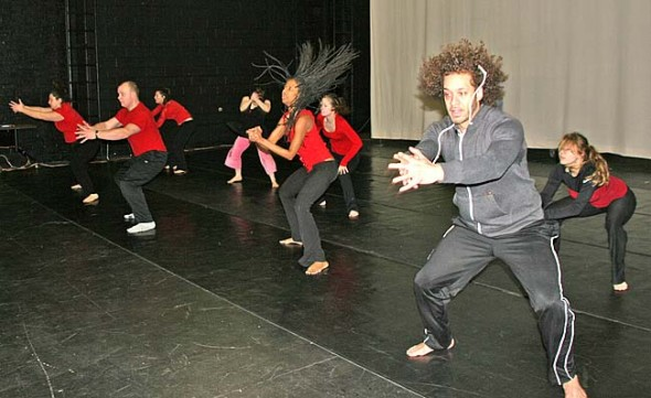 """""""Our American Skin,"""" an original dance by Valerie Blackwell-Truitt, center, will be one of the pieces by local choreographers performed at this weekend's Yellow Springs Community Dance Concert, at 8 p.m., Friday and Saturday at the Antioch College Foundry Theater. Also performing above at right is Blackwell-Truitt's son, Kyle, to whom the dance is dedicated. See article at bottom of page on the event. (photo by Suzanne Szempruch)"""