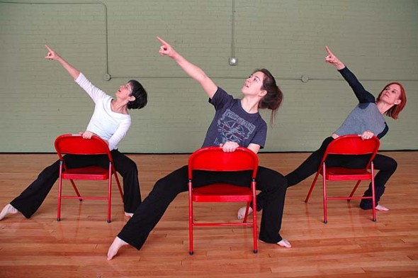 """Jill Becker, left, Katie Gaines and Angie Bogner, all of Yellow Springs, will perform Becker's original dance, """"Chair Dancin',"""" at this weekend's Yellow Springs Community Dance Concert at the Antioch College Foundry Theater Friday and Saturday at 8 p.m. (photo by Diane Chiddister)"""