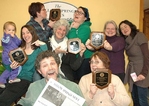 The News fulltime staff celebrated being named Newspaper of the Year in its size category by the Ohio Newspaper Association for the fifth straight year. Pictured above are, top row from left, Designer Suzanne Szempruch and Village Desk Editor Lauren (Chuck) Shows; middle row, Pearl Bachman (not fulltime) and Reporter Megan Bachman, Editor Diane Chiddister, freelancer Carol Simmons and Associate Editor Lauren Heaton; and front row, Designer Matt Minde and Office Manager Kathryn Hitchcock. Not shown are Advertising Manager Robert Hasek and Bookkeeper Peg Champney. (Photo by our Camera)