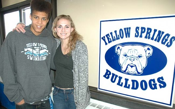 Olivia Chick and Aman Ngqakayi will swim at the state swimming finals in Canton this week. Chick, a sophmore, is returning to states to improve on her eighth-place finishes in the 100- and 200-yard freestyle. Ngqakayi, a junior, qualified for states for the first time and will swim the 100-yard freestyle and breaststroke. (Photo by Megan Bachman)