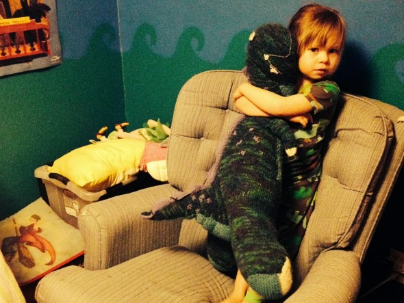 Lucy shows a little dino love.