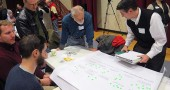 About 200 villagers took part in last Sunday's Antioch College Village opening charrette event at the South Gym. Shown above are, clockwise from bottom left, Alex Melamed, Andrew Kline, Kevin Mulhall, Keith Kresge and a facilitator are shown engaged in an exercise to establish priorities for the project, which seeks to build homes on the college campus. The wrap-up event takes place March 5, at 6 p.m. in the South Gym. (Photo by Amy Magnus)
