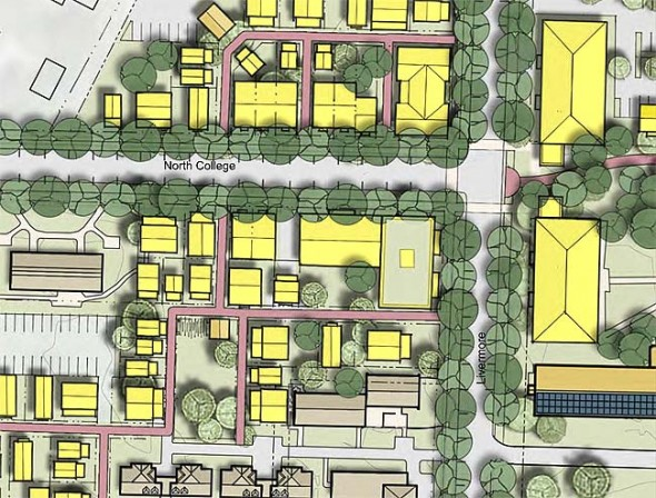 Shown above is a draft version of the Antioch Village charrette, in which many kinds of housing are located on the western and northern edges of campus. (Submitted graphic)