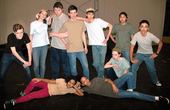 """The Jets of """"West Side Story"""" starring from left, Duard Headley, Meredith Rowe, Bear Wright, Josh Seitz as Riff, Jonah Trillana, Ursula Kremer, Christina Brewer,   David Walker, and in front, Sumayah Chappelle and Zoe Williams. The show opens this weekend at the Antioch College Foundry Theater. (Photo by Lauren Heaton)"""
