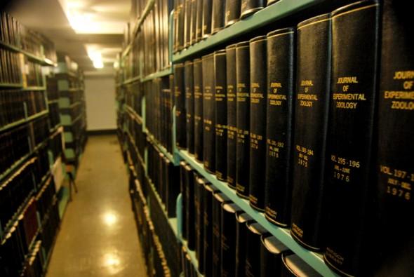 A bookshelf filled with knowledge (photo by Aaron Zaremsky)