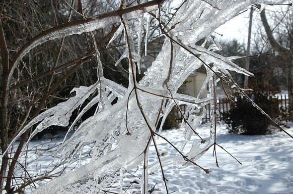 Winter (and the kids) still with us: Yellow Springs Schools are on a 2-hour delay Thursday, March 5, due to icy road conditions (photo by Matt MInde)
