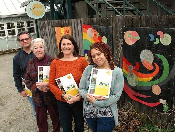 The Yellow Springs Arts Council published a Yellow Springs Artist Directory this month, after over a year's work from the board and, from left, Nick Gaskins, Jane Baker, Holly Underwood and Alex Scott. The approximately 270 artists in the book can pick up a complimentary copy, also available to the public for $2, at the YSAC Gallery on Corry Street. (Photo by Lauren Heaton)