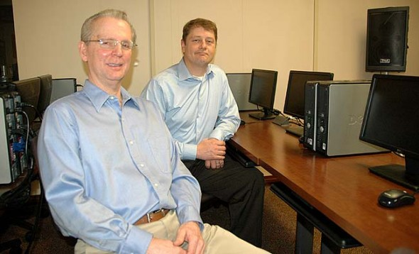 Tim Barhorst, left, chair of the Springs-Net nonprofit and Thor Sage of the Miami Valley Educational Computer Association, or MVECA, are among the organizers of the Fiber Forum, to take place Saturday, April 25, beginning at 9 a.m. at MVECA on East Enon Road. (Photo by Carol Simmons)