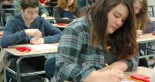 Yellow Springs High School sophomores spent a solid week in March taking the Ohio Graduation Test. Last week the the Yellow Springs district received state permission to waive over 50 percent of standardized tests for grades K–12 over the next five years. (Photo by Lauren Heaton)