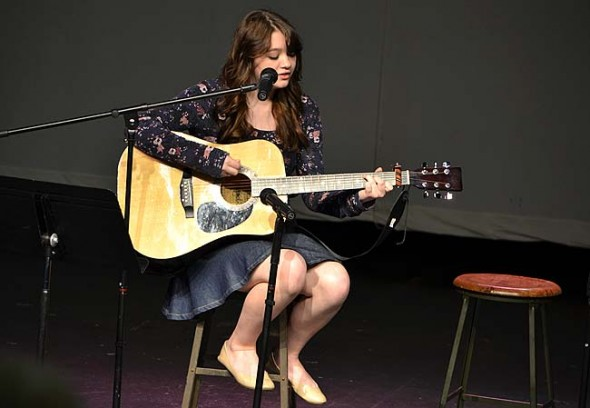 Angel Canter singing an original song. (Photo by Megan Bachman)