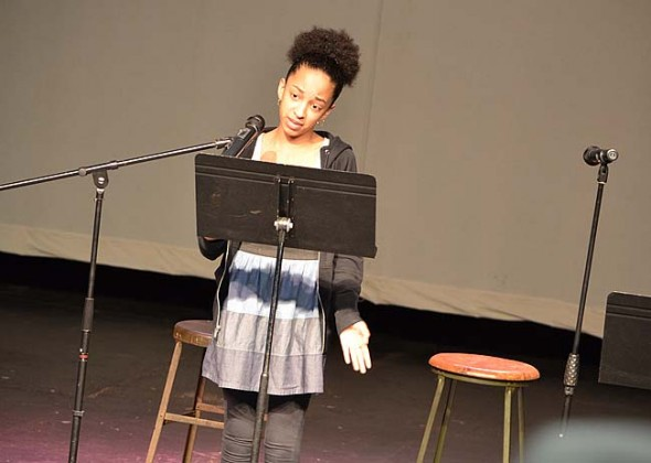 Sumayah Chappelle reading an original piece. (Photo by Megan Bachman)