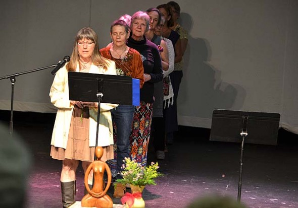 Linda Rudawski, Denise Cupps, Joan Chappelle, Janet Baer, Catherine Phillips, Lisa Russell, Linda Sikes and Kim Rohmann performing spoken word. (photo by Megan Bachman)