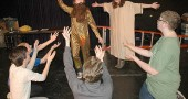 """This year's Yellow Springs High School One Act plays, which include titles such as """"Second Coming,"""" """"Welcome to Hell"""" and """"The Bliss."""" The show opens this weekend at Mills Lawn gym, with performances on Friday and Saturday, April 24 and 25, 8 p.m. and Sunday, at 2 p.m. Admission is $5 at the door, with proceeds benefitting the high school drama program. (Photo by Lauren Heaton)"""