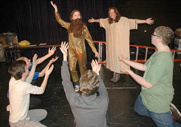 "This year's Yellow Springs High School One Act plays, which include titles such as ""Second Coming,"" ""Welcome to Hell"" and ""The Bliss."" The show opens this weekend at Mills Lawn gym, with performances on Friday and Saturday, April 24 and 25, 8 p.m. and Sunday, at 2 p.m. Admission is $5 at the door, with proceeds benefitting the high school drama program.   (Photo by Lauren Heaton)"