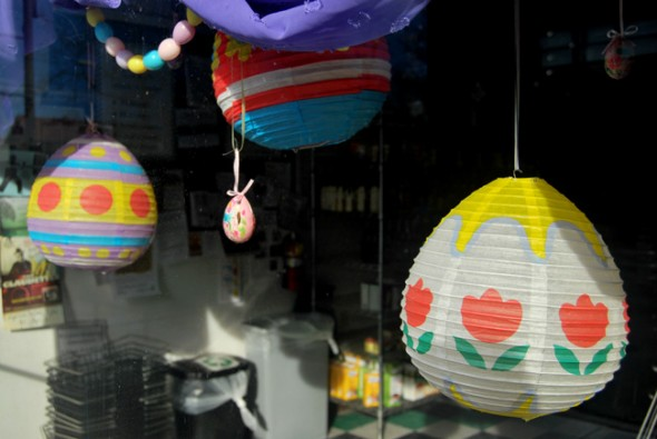 Paper eggs dangle at Current Cuisine (photo by Aaron Zaremsky)