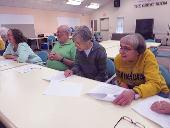 attentive audience at the senior center