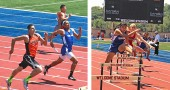 YSHS track and field athlete Ed Johnson sprinted the last leg of the 4x400-meter relay at last week's district meet. Johnson helped his team clinch third place and qualify for regionals with a time of 45.78 seconds. Olivia Brintlinger-Conn cleared a hurdle on her way to a regional qualification last week. At the high school district track and field meet, Brintlinger-Conn finished fourth in the 300-meter hurdles in 49.53 seconds to advance to regionals. (Left photo by Tim Sherwood; right photo by Jesi Worsham)