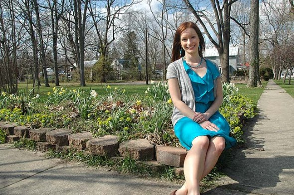 """Ashley Lackovich-Van Gorp, who recently moved with her family to Yellow Springs, has founded a nonprofit, Enhance Worldwide, which aims to help girls in Ethiopia """"navigate a pathway out of poverty."""" She recently received a Ph.D. in Leadership and Change from Antioch University. (Photo by Carol Simmons)"""