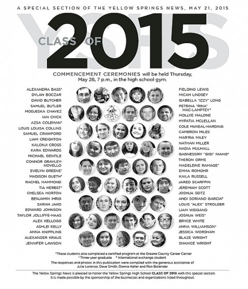 Read the words of the YSHS Class of 2015, online or in print in the May 21 edition of the News.