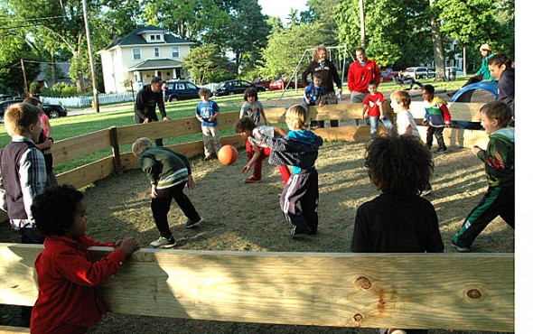 Mills Lawn kids played in a gag pit on PBL night with physical education teacher Dan West.