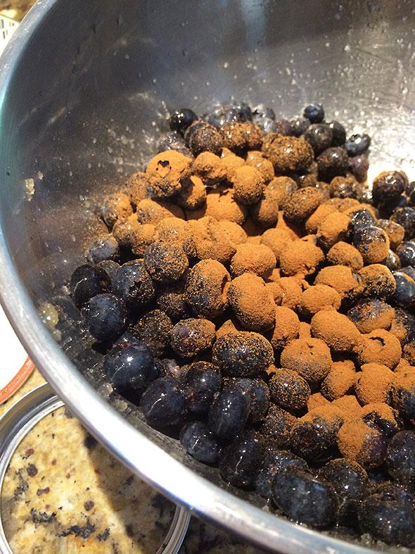 cinnamon over blueberries