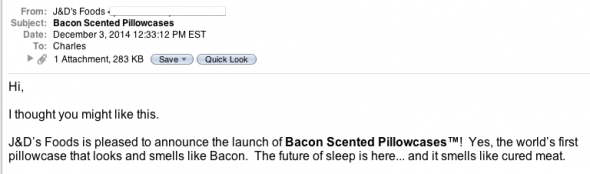 Bacon-scented pillowcases