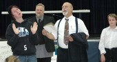 "Shannon Lewis, Rob Campbell and Dave Nickel rehearsed a scene in ""Inherit the Wind."""