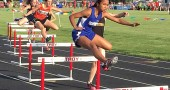 Sophomore track athlete Julie Roberts ran the 300-meter hurdles to a seventh-place finish in the regional finals last weekend. She ran the race in in 48.75 seconds. (Submitted photo by Coach Peter Dierauer)