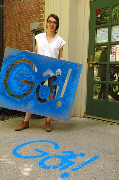 Antioch College student Cleo van der Veen organized The Go! Project last Friday, locking all but handicapped-accessible doors on campus to raise awareness about mobility and accessibility standards. (Photo by Matt Minde)