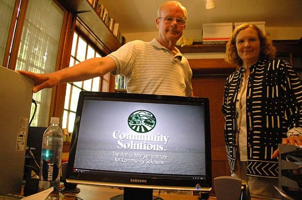 Filmmaker Eric Johnson and Susan Jennings of Community Solutions are starting a sustainability-themed YouTube channel for Yellow Springs. (Photo by Megan Bachman)