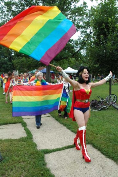 2015 Yellow Springs Pride events take place this weekend. Melissa Heston is shown leading off last year's sidewalk parade.