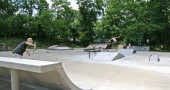 The concrete ramps in the foreground is phase one of the skate park improvements. (Photos by Suzanne Szempruch)