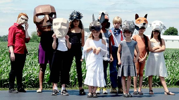 """Yellow Springs Kids Playhouse's summer play, """"The Farm,"""" blends a recounting of the 1999 Whitehall Farm auction with George Orwell's """"Animal Farm."""" Playing some of the human, animal and spirit characters in the show are, from left, Chloe Thompson, Reese Elam, Sophie Lawson, Carina Basora, Violet Babb, Malaya Booth, Ben McKee, Zan Holtgrave, Daphne Trillana and Camila Dallas-Gonzalez. (Submitted photo by Tod Tyslan)"""