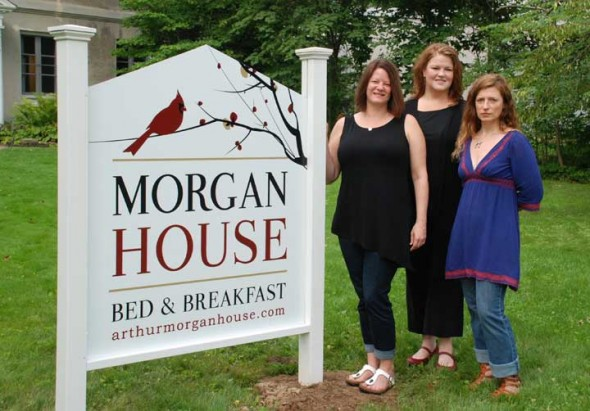 Stacey Wirrig, left, purchased the Arthur Morgan House Bed & Breakfast last year and is running it with host Wendy Pace, center, and head chef Erin Campbell. An open house at the B&B is Thursday, July 23, from 4 to 7 p.m.  (Submitted photo)