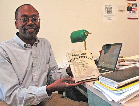 Kevin McGruder, assistant professor of history at Antioch College, will discuss his latest book, Race and Real Estate: Conflict and Cooperation in Harlem 1890–1920, on Tuesday, Aug. 4. at 7 p.m. at McGregor 113 on the college campus. He will also sign copies of this book, which was recently published by Columbia University Press. (Photo By diane chiddister)