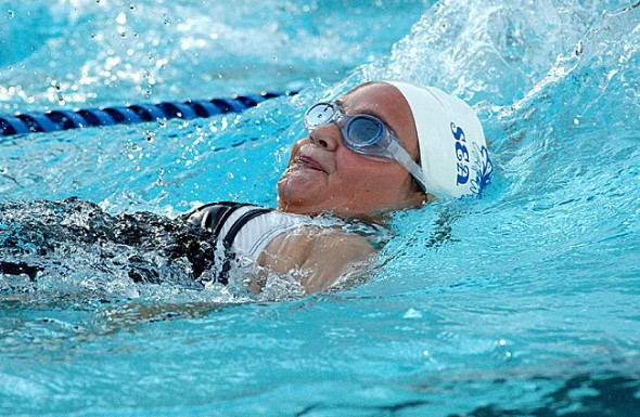 Yellow Springs resident Madison Werner swam the backstroke event at Gaunt Park July 16.