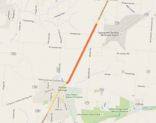 Stretch of US Rte. 68 which is closed due to culvert construction (Google Maps)
