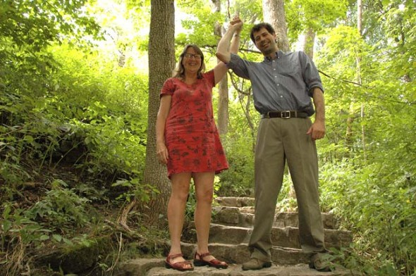After a nine-year effort, Glen Helen is now officially preserved as forever a green space. A collaboration of federal, state and local agencies assisted in the process of raising funds to purchase conservation easements for the Glen. Shown above are leaders Krista Magaw, executive director of Tecumseh Land Trust, and Glen Director Nick Boutis. (Photo by Matt Minde)