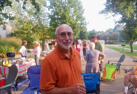 Leonard Kramer hosted a neighborhood gathering at Kingsfield Court.