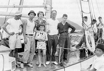 Barbara and Earle Reynolds on their peace voyage with the Phoenix.