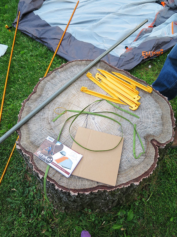 tent stakes and poles