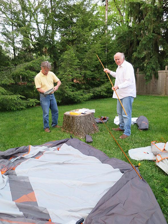 assembling the tent poles