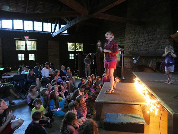 Corrie Van Ausdal kicks off the annual Tar Hollow Camporee Talent Show