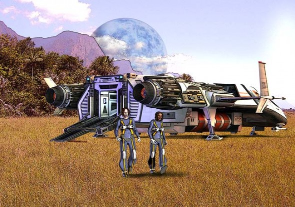 """In the role playing game Stars Without Number, players explore alien landscapes and outfit themselves with gear befitting a space adventurer. The game blasts its way into the Yellow Springs Library every second Thursday, from 4 to 5:30 p.m. (earthtime). (""""Landfall,"""" Illustration by David Reddington, from the game)"""