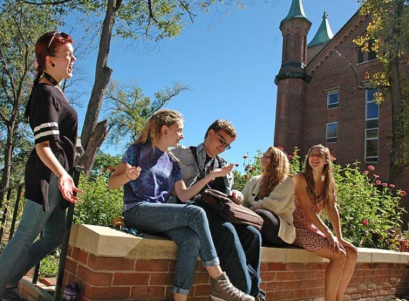 The fifth class of the revived Antioch College started classes this week. The 66 students, including, from left, Emily Langhardt, Kaitlin Staggs, Jonas Mufson, Rachel Isaacson and Helena Balcerzak, were attracted to the college because of its commitment to social justice, international co-op, small-town feel and unparalleled financial support. (Photo by Lauren Heaton)