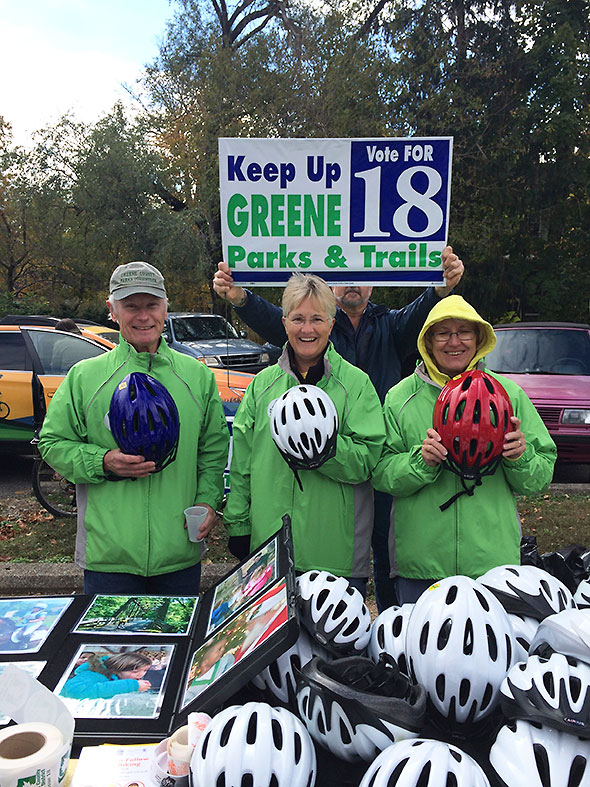 Greene Parks & Trails offered bike helmets to attendees