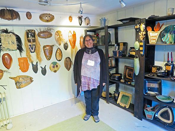 Lisa Goldberg at her Ceramic Studio