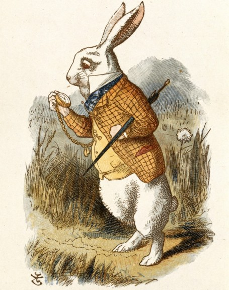 """He's late! He's late! """"The White Rabbit,"""" illustration by John Tenniel for """"The Nursery Alice"""" (1890). Image in public domain."""